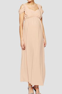 Ruched Sweetheart Long Jersey Dress With Empire Waist