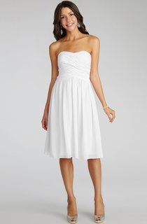 Chiffon Short Strapless Dress With Crisscross Ruching