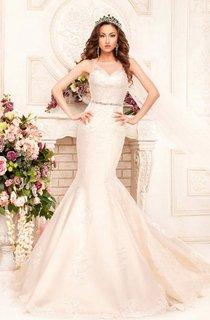 Mermaid Floor-Length Scoop Sleeveless Illusion Satin Dress With Appliques And Waist Jewellery