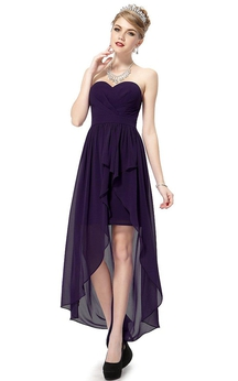 Sweetheart Asymmetrical Chiffon Gown With Pleats
