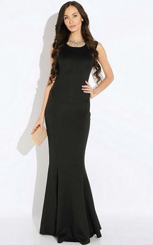 Scoop Neck Sleeveless Mermaid Jersey Floor Length Dress With Pleats