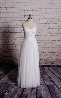 Lace and Tulle Sweetheart A-Line Gown With Pleated Skirt