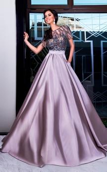 A-Line Sweep Jewel Short Sleeve Satin Pleats Beading Low-V Back Dress