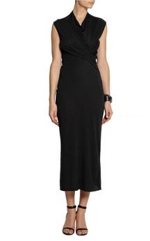 V Neck Cap Sleeve Sheath Jersey Tea Length Dress With Ruching