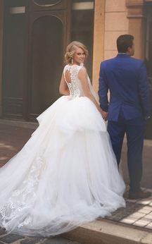 a line ball gown empire mini jewel bell empire dropped appliques cathedral train tulle dress