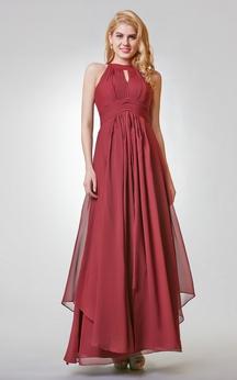 Halter Long A-line Chiffon Dress With Pleats