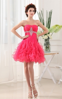 Sleeveless Short-Length A-Line Gown With Crystal Detailing and Ruffles