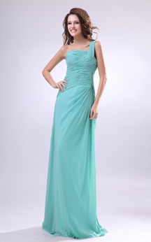 One-Shoulder Pleating Chiffon Dress With Side-Draping