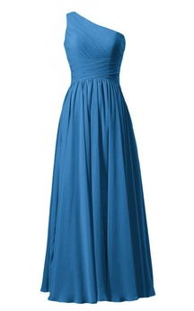 One-shoulder Ruched Bodice Long Pleated Chiffon Dress