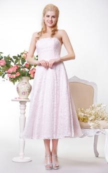 Simple Strapless A-line Lace Tea Length Dress