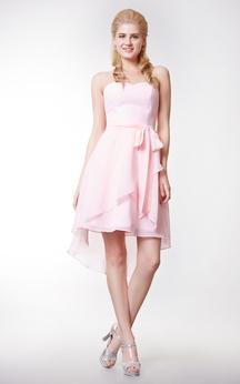 Sweetheart High Low Chiffon Short Dress With Crisscross Skirt