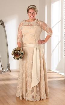 A-Line Floor-Length Bateau Neck 3-4-Sleeve Lace Illusion Appliques Dress