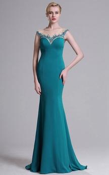 Sheath Sweep Bateau Sleeveless Jersey Crystal Detailing Zipper Dress