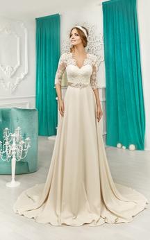 V-neck Half Sleeve Lace Top V Back Satin Dress