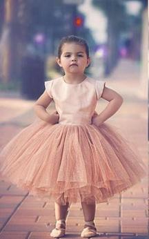 Lovely Cap Sleeve Tulle Princess Flower Girl Dress Bowknot