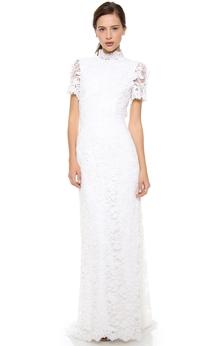 Long High Neckline Sheath Lace Dress With Keyhole Back Style