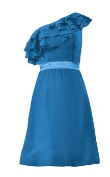 One-shoulder Ruffled Bodice Knee-length Chiffon Dress