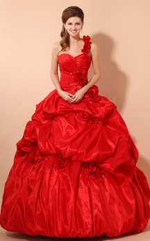 Flamboyant Sweetheart A-Line Ball Gown With Flower and Pick-Up Ruffles