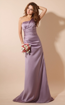 One-Shoulder Satin Floor-Length Dress With Brush Train
