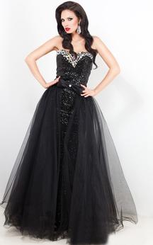 A-Line Sweep Jewel Short Sleeve Lace Pleats Low-V Back Dress