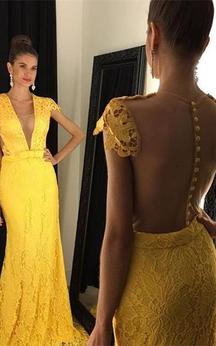 Modern Yellow V-neck 2016 Prom Dress Cap Sleeve Lace
