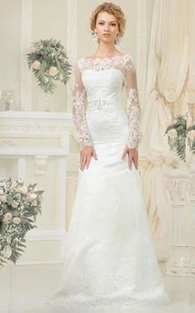 Sheath Floor-Length Bateau-Neck Illusion-Sleeve Lace-Up Lace Dress With Sash And Beading