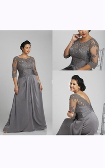 Lace Yoke Half Sleeve A-line Satin Chiffon Long Dress With Low-v Back