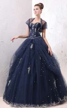 Exquisite A-Line Ball Gown With Tulle Overlay and Lace Appliques