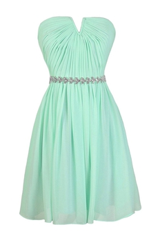 Strapless Pleated Chiffon Short Dress With Beaded Band
