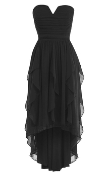 V-cut Asymmetrical Chiffon Dress With Ruffles