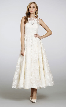 Unique Sleeveless High Neck Tea Length Dress with Keyhole Back