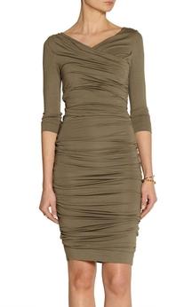 V Neck V Back 3-4 Sleeve Sheath Jersey Short Dress With Ruching
