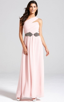Long Chiffon One-Shoulder A-Line Chic Dress With Sash
