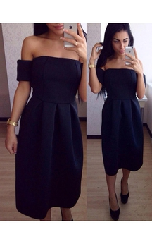 Tea Length Off The Shoulder Pleated Satin Dress