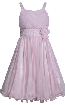 Sleeveless A-line Tulle Dress With Lace and Flower