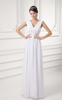 V-Neck Chiffon Long Sleeveless Dress With Floral Waist
