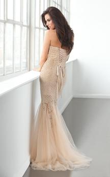 Mermaid Floor-Length Sweetheart Sleeveless Tulle Beading Ruffles Lace-Up Dress