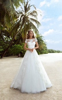 A-Line Long Off-The-Shoulder Cap-Sleeve Lace-Up Tulle Dress With Appliques And Beading