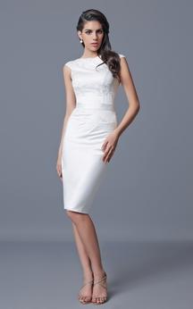 Bateau Neckline Knee Length Satin and Lace Dress