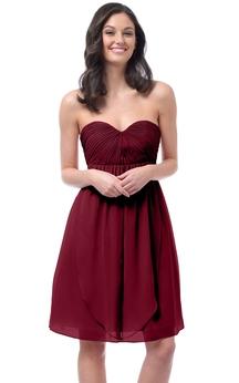 Chiffon Sweetheart Short Dress With Convertible Straps