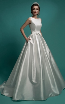 A-Line Floor-Length Jewel-Neck Sleeveless Low-V-Back Satin Dress With Lace Appliques And Bow