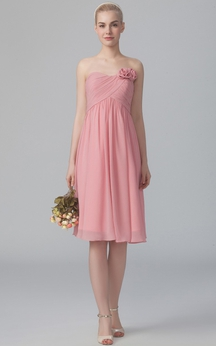 Strapless A-Line Dress With Flower Details