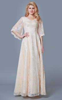 Elegant Bell Sleeve A-line Long Lace Dress With V-neck