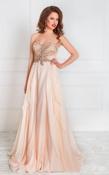 A-Line Floor-Length Sweep Sweetheart Sleeveless Chiffon Beading Ruffles Zipper Dress