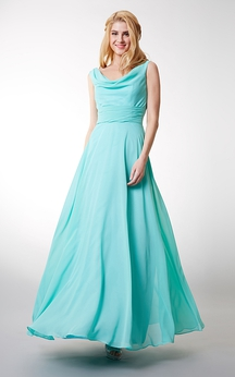 Charming Cowl Neck Sleeveless Long Chiffon Dress With V-neck