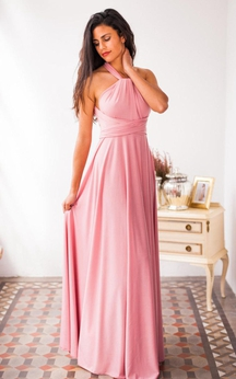 High Neck A-line Pleated Chiffon Floor Length Dress With BAndage