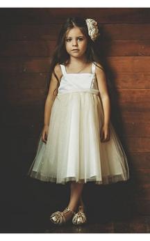 Satin Bodice Square Neck Empire A-line Tulle Tea Length Dress