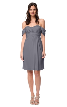 Short Unique Off-The-Shoulder Dress With Ruching