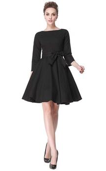 Bateau Neck A-line Knee-length Dress with Pleats