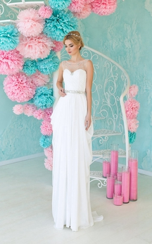 Pencil Floor-Length Scoop Sleeveless Chiffon Dress With Beading And Draping